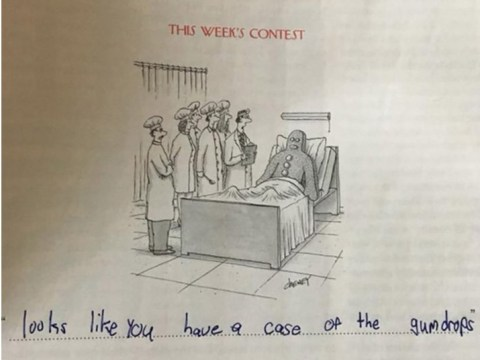 Some nine-year-old's been writing genius captions on New Yorker cartoons