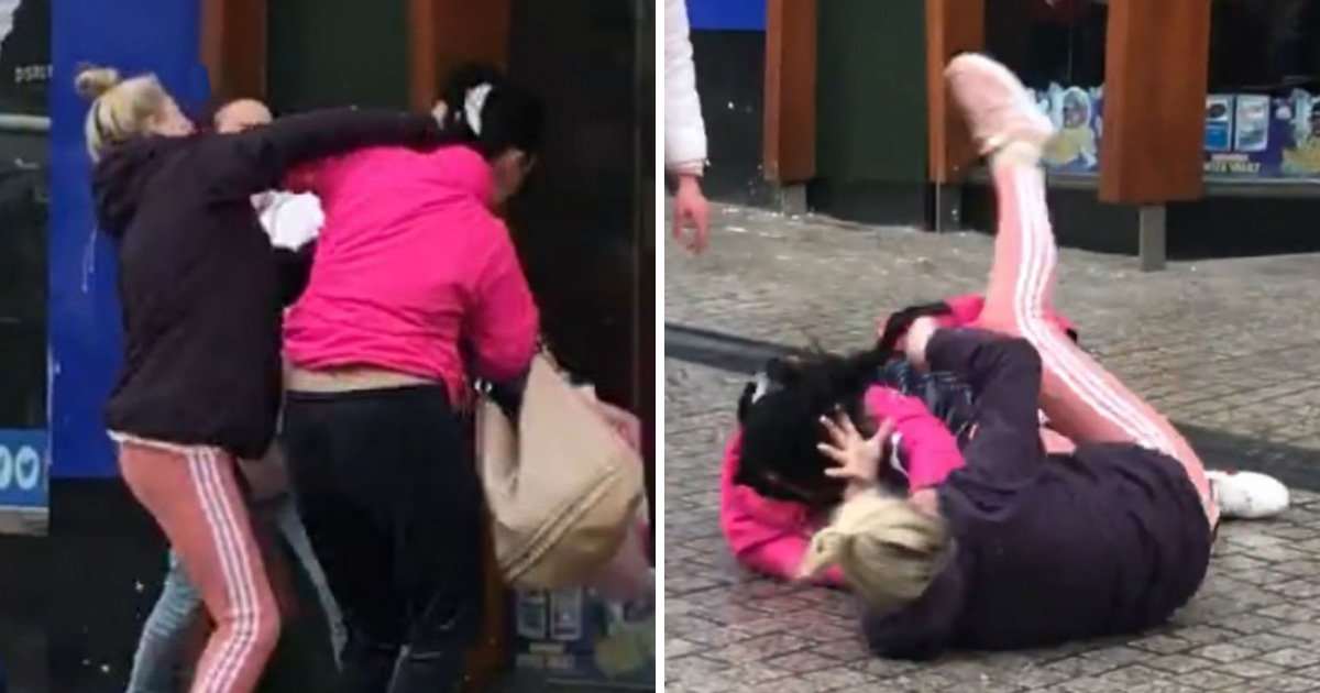Vicious brawl breaks out on on the street outside a McDonald's