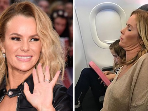 Amanda Holden makes fun of her 'three chins' after she's caught napping on a plane