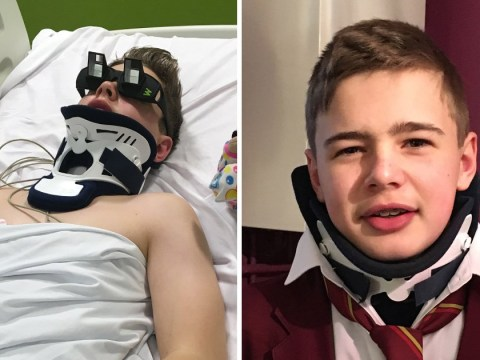 Gymnast breaks his neck in trampoline practice but manages to walk four days later