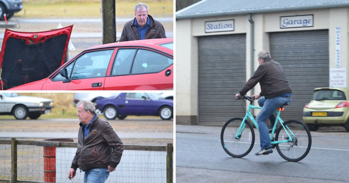 JEREMY Clarkson has been spotted cycling around the Scottish Highlands - after his classic car broke down