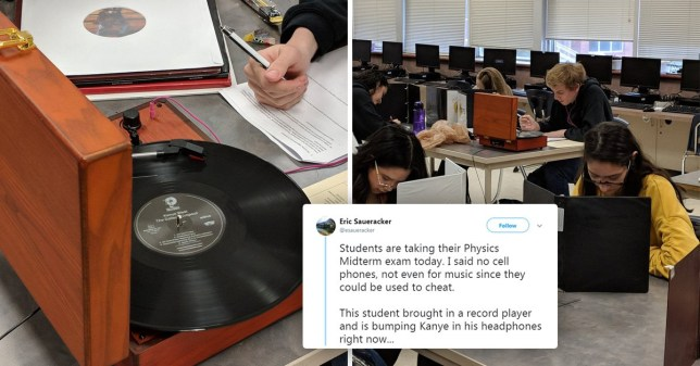 Student brings record player into his exam, teacher can't fight him