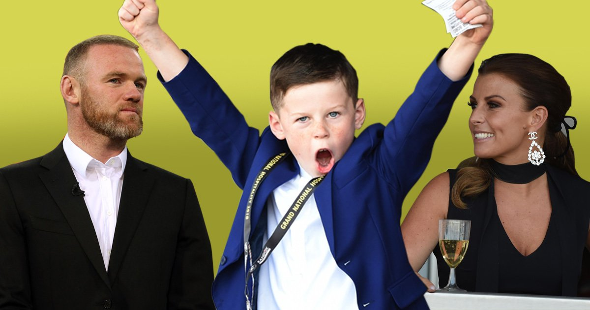 Wayne Rooney's son Kai is his twin as he celebrates betting win at Grand National