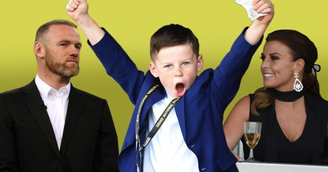 Wayne Rooney's son Kai celebrates like his father has scored a goal after backing a winner at Aintree