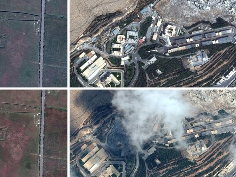 Satellite pictures reveal devastation caused by barrage of missiles in Syria airstrikes