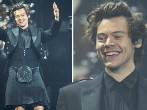 Harry Styles proves he can wear anything as he shows of legs in a kilt