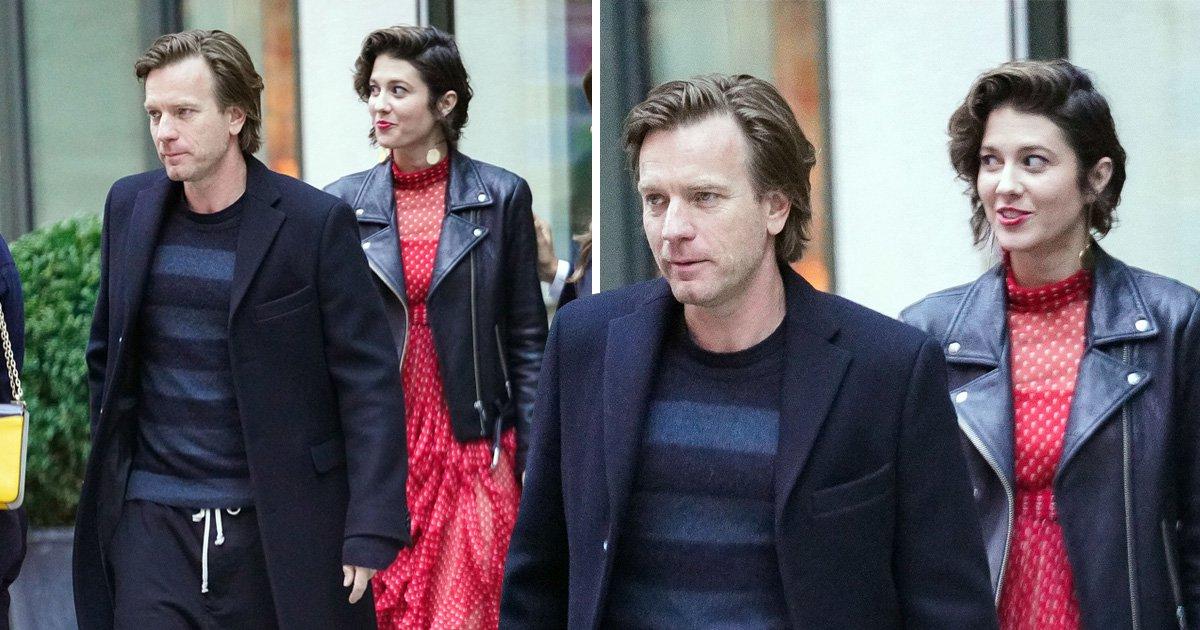 Ewan McGregor dresses up for girlfriend Mary Elizabeth Winstead – who looks like cat that got the cream