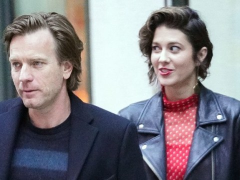 Ewan McGregor dresses up for girlfriend Mary Elizabeth Winstead – who looks like cat that got the cream