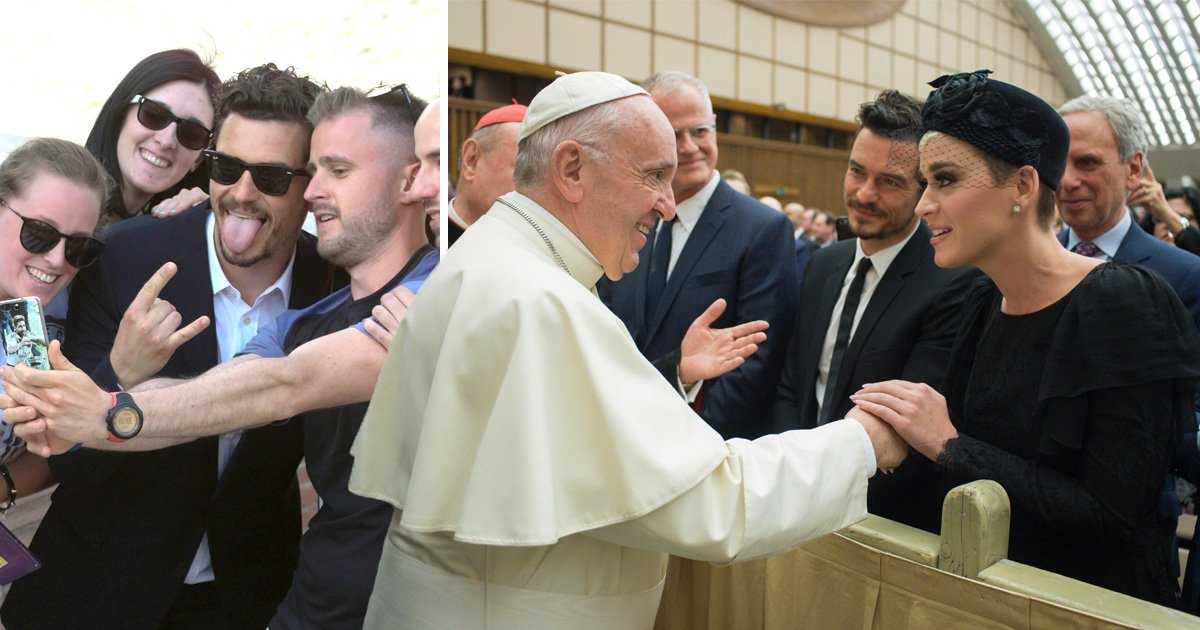 Orlando Bloom take selfies with fans as he joins Katy Perry in meeting Pope Francis