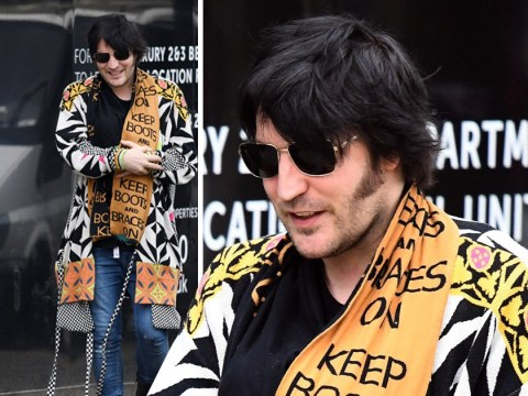 Noel Fielding makes parenthood look like walk in the park as he and Lliana Bird take newborn for stroll