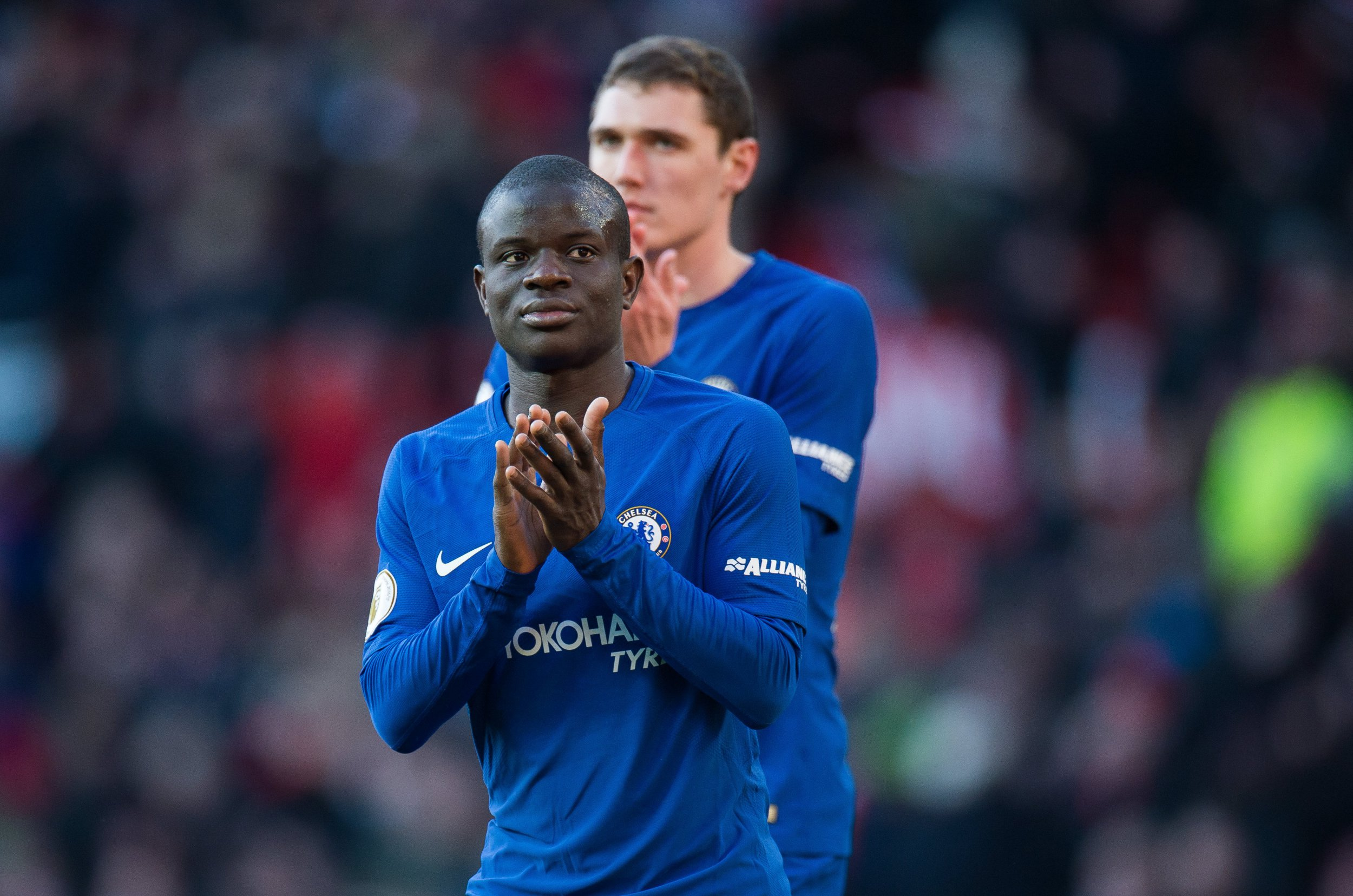 epa06564750 Chelsea???s N'Golo Kante reacts after the English Premier League soccer match between Manchester United and Chelsea FC held at Old Trafford, Manchester, Britain, 25 February 2018. EPA/PETER POWELL EDITORIAL USE ONLY. No use with unauthorized audio, video, data, fixture lists, club/league logos or 'live' services. Online in-match use limited to 75 images, no video emulation. No use in betting, games or single club/league/player publications.