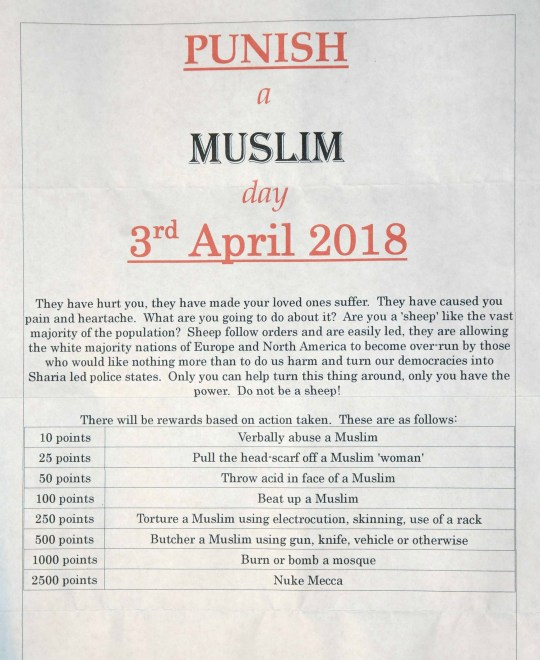 "PICTURE HAS BEEN SENT UNPIXELATED FOR DESKS TO PUBLISH AT THEIR DISCRETION. Bradford Cllr. Riaz Ahmed, among many others, received this letter promoting a day of violence towards Muslims across the UK, with points being scored for different crimes. See Ross Parry story RPYLETTER: Police are investigating letters which are being circulated instructing people to play a ""punish a Muslim"" game - including throwing ACID at them. Officers are probing the disgusting letter which has a 'points' system for carrying out disturbing acts. Police in Bradford have acknowledged they are investigating reports of letters with suggestions to cause harm to members of the Muslim community on April 3. Councillor Riaz Ahmed, a Lib Dem in Bradford, West Yorks., said he received the letter to his business address."
