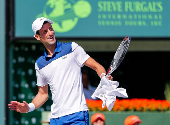 epa06625275 Novak Djokovic of Serbia reacts against Benoit Paire of France during a second round match at the Miami Open tennis tournament on Key Biscayne, Miami, Florida, USA, 23 March 2018. EPA/ERIK S. LESSER