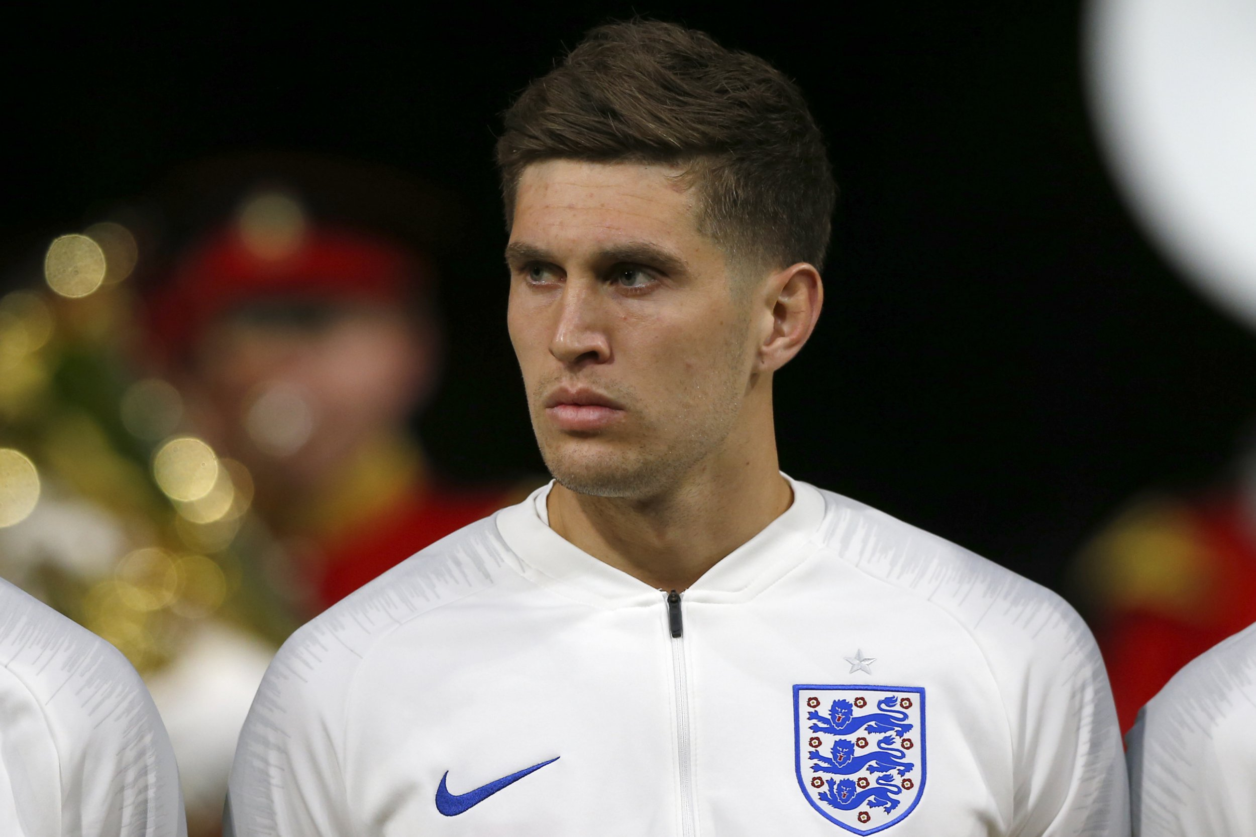 England's John Stones lines up prior to the international friendly soccer match between the Netherlands and England at the Amsterdam ArenA in Amsterdam, Netherlands, Friday, March 23, 2018. (AP Photo/Peter Dejong)