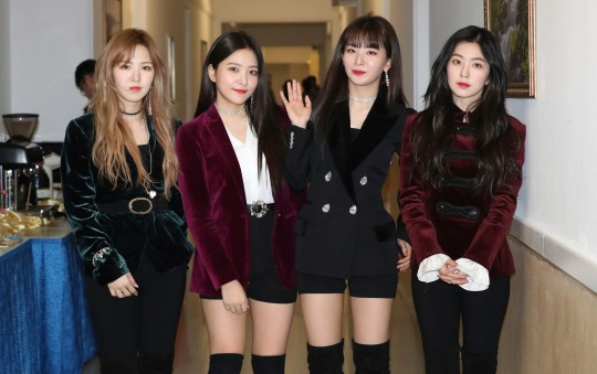 South Korean girl band Red Velvet is seen after their performance in Pyongyang, North Korea, Sunday, April 1, 2018. South Korean media say North Korean leader Kim Jong Un has watched a rare performance by South Korean pop stars visiting Pyongyang. (Korea Pool via AP)