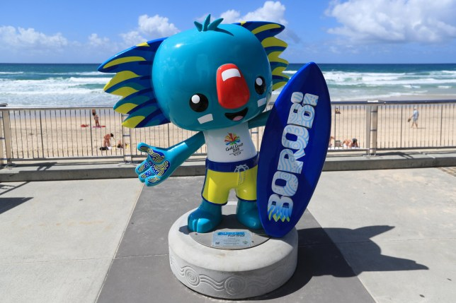A view of a statue of Commonwealth Games mascot Borobi the blue koala at Surfers Paradise ahead of the 2018 Commonwealth Games in the Gold Coast, Australia.