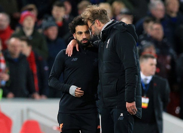 Liverpool manager Jurgen Klopp with Mohamed Salah after the UEFA Champions League quarter final, first leg match at Anfield, Liverpool. PRESS ASSOCIATION Photo. Picture date: Wednesday April 4, 2018. See PA story SOCCER Liverpool. Photo credit should read: Peter Byrne/PA Wire