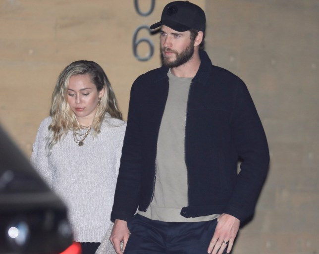EXCLUSIVE: Miley Cyrus & Liam Hemsworth leave after a romantic dinner in LA. Liam is still wearing what looks like a wedding band on his left hand. 04 Apr 2018 Pictured: Miley Cyrus & Liam Hemsworth. Photo credit: MEGA TheMegaAgency.com +1 888 505 6342