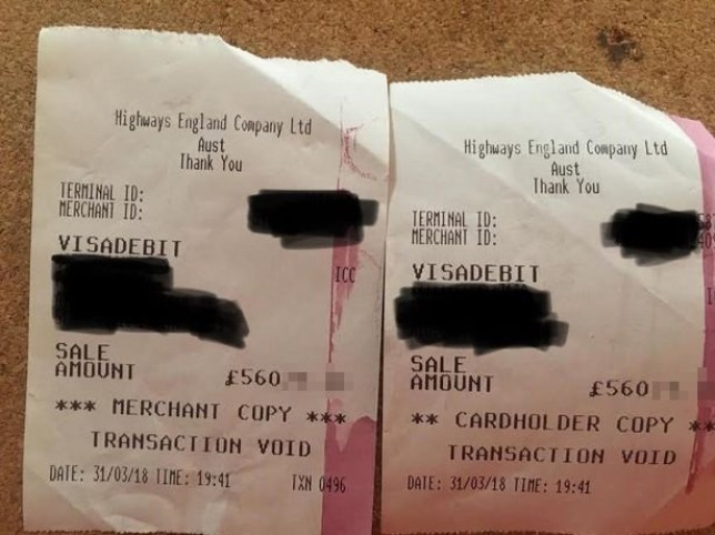 Philippa Cousins was charged ?56k twice to cross the Severn Bridge and claims the attendant was rude when she complained. Pic shows the receipts Credit: Media Wales Payment at your normal rate to Trinity Mirror Publishing Ltd PO Box 2003 39 Old Hall Street Liverpool L69 3FR
