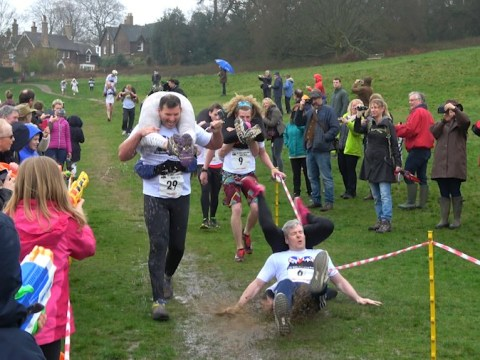 Woman injured during wife-carrying race after being dropped on her head