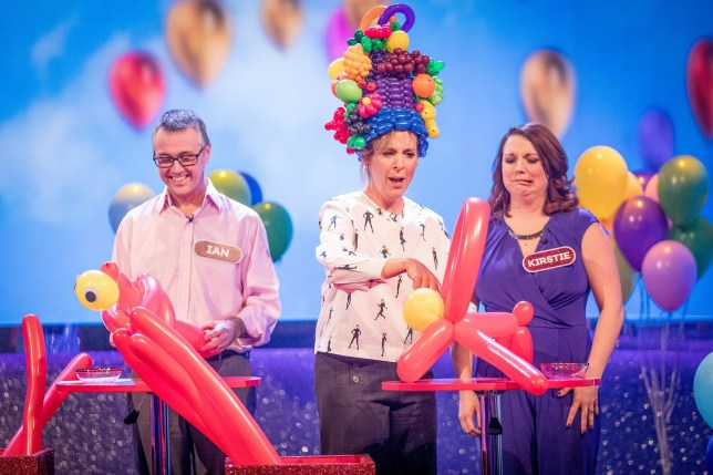 WARNING: Embargoed for publication until 00:00:01 on 03/04/2018 - Programme Name: The Generation Game 2018 - TX: n/a - Episode: n/a (No. 2) - Picture Shows: Ian, Mel Giedroyc, Kirstie - (C) BBC - Photographer: Guy Levy