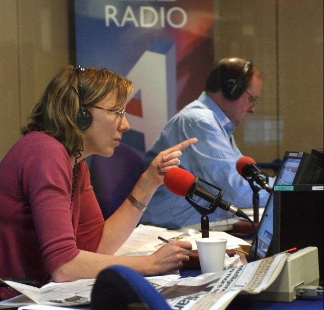 Today presenters Sarah Montague and James Naughtie in the studio. (Photo by Jeff Overs/BBC News & Current Affairs via Getty Images)