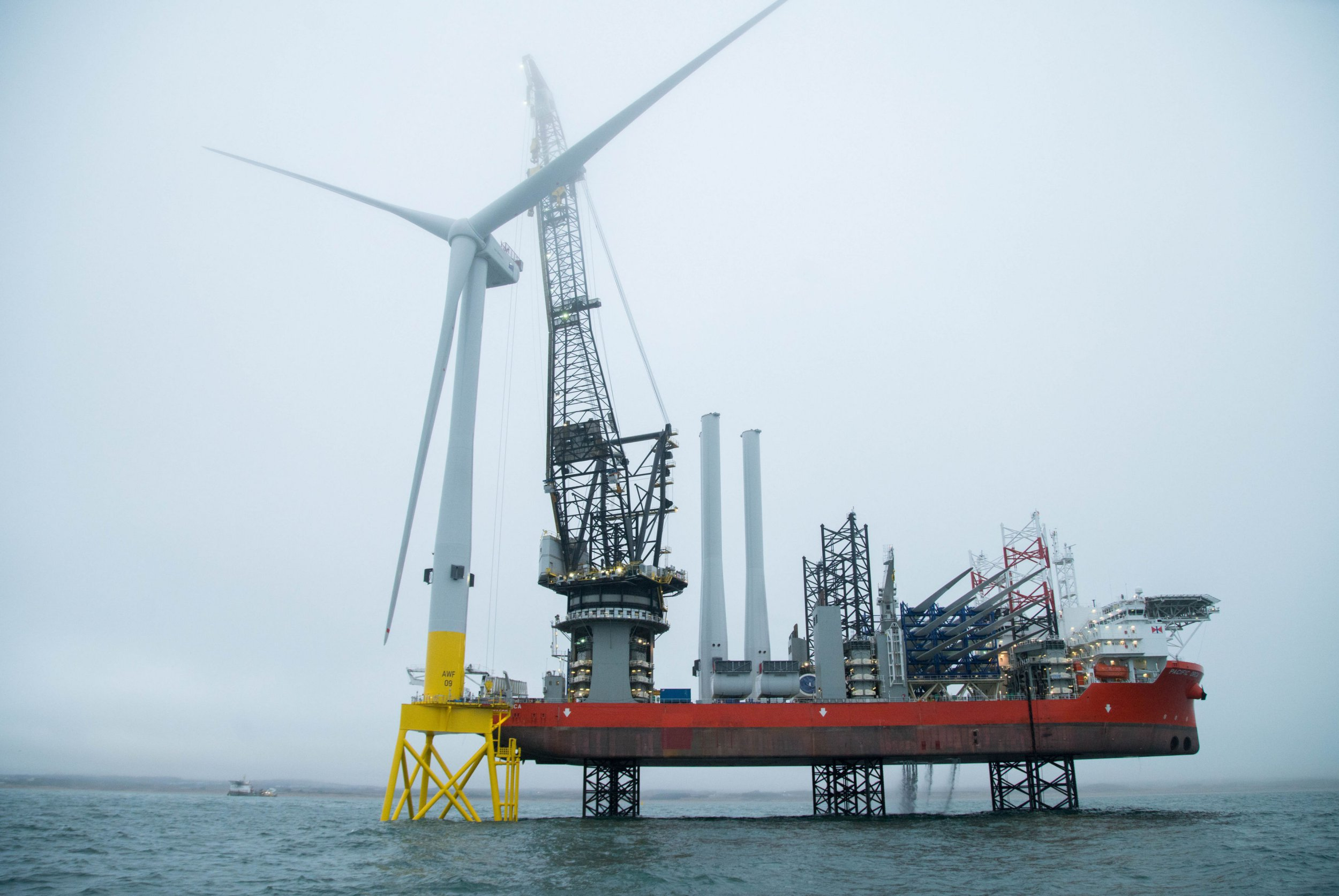 Undated handout photo issued by Vattenfall of the world's most powerful wind turbine which has been successfully installed in waters off the coast of Aberdeen. PRESS ASSOCIATION Photo. Issue date: Tuesday April 10, 2018. Vattenfall confirmed the first of 11 turbines in its European Offshore Wind Deployment Centre (EOWDC) had been put in place. See PA story ENVIRONMENT Wind. Photo credit should read: Vattenfall/PA Wire NOTE TO EDITORS: This handout photo may only be used in for editorial reporting purposes for the contemporaneous illustration of events, things or the people in the image or facts mentioned in the caption. Reuse of the picture may require further permission from the copyright holder.