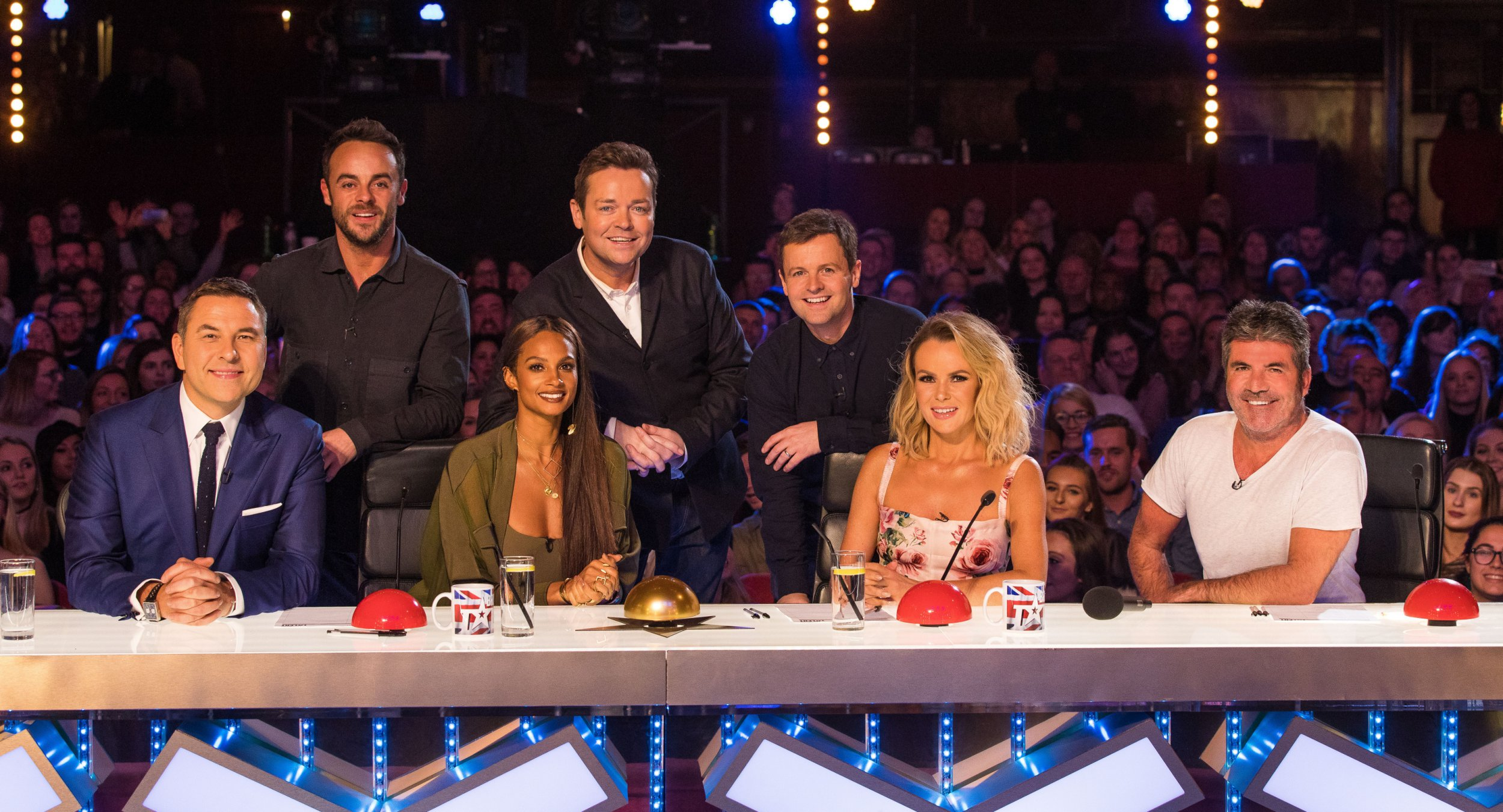 EDITORIAL USE ONLY - NO MERCHANDISING Mandatory Credit: Photo by Dymond/Thames/Syco/REX/Shutterstock (9351090a) Anthony McPartlin, Stephen Mulhern, Declan Donnelly, David Walliams, Alesha Dixon, Amanda Holden and Simon Cowell 'Britain's Got Talent' TV show, Judges, London, UK - 01 Feb 2018
