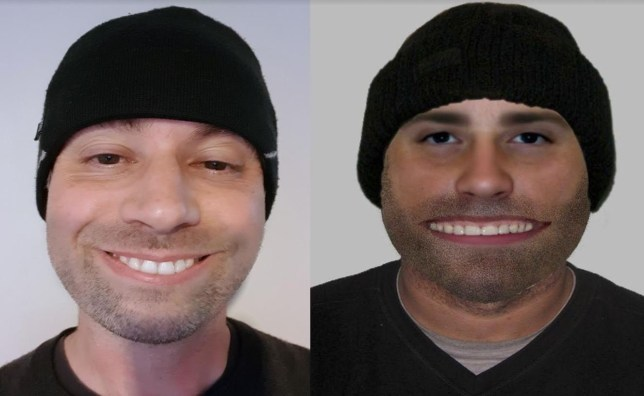 Richard Fox (left) and the police efit which looks just like him. See SWNS story SWEFIT; A man has been forced to deny he is the 'Cheshire cat burglar' despite a striking similarity to a comical police e-fit. The picture, which features a suspected distraction burglar with an extremely wide smile, went viral last week after a police force posted it on social media. The man was compared to characters including Zippy from Rainbow and Batman villain the Joker and despite being shared thousands of times it attracted more hilarity than help. But Richard Fox, 43, said the image had passed him by until his pals gleefully pointed out that it looked just like him.