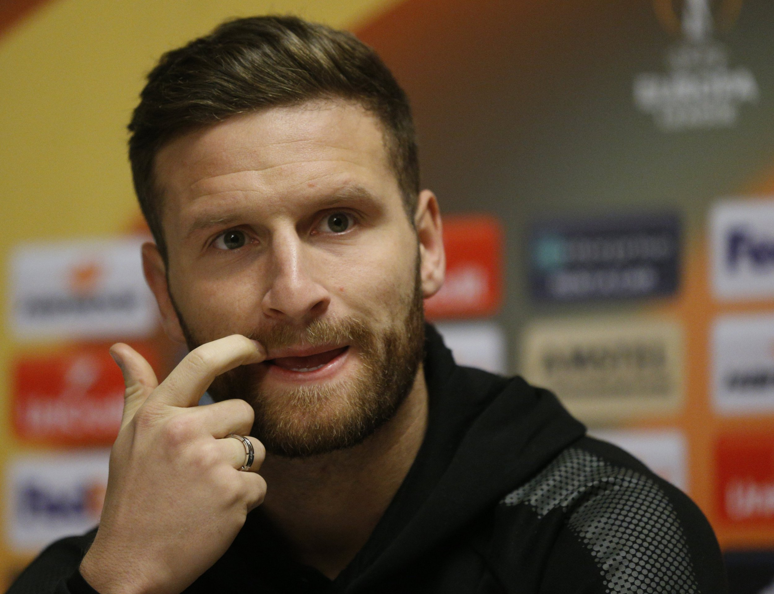 epa06661898 Shkodran Mustafi of Arsenal attends a press conference at Sheraton Shremetyevo hotel upon the team's arrival for a second leg match against CSKA in Moscow, Russia, 11 April 2018. EPA/SERGEI CHIRIKOV