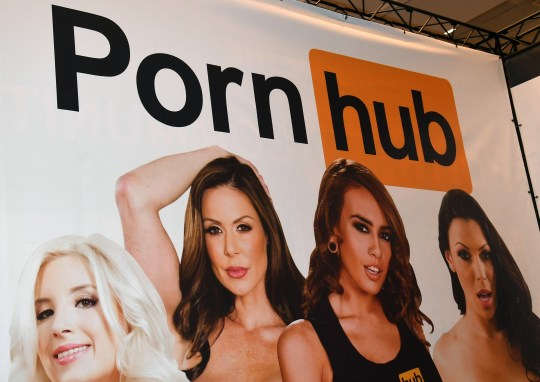 LAS VEGAS, NV - JANUARY 18: A sign at the Pornhub booth is displayed at the 2017 AVN Adult Entertainment Expo at the Hard Rock Hotel & Casino on January 18, 2017 in Las Vegas, Nevada. (Photo by Ethan Miller/Getty Images)