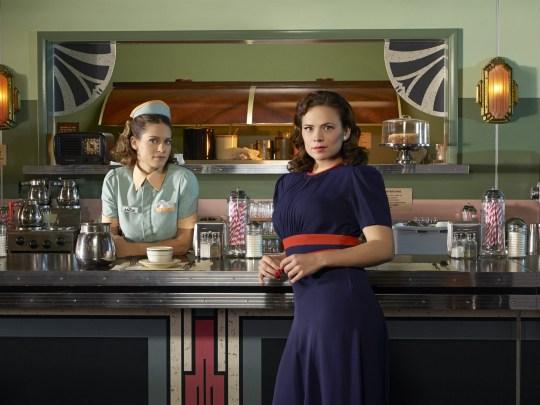 No Merchandising. Editorial Use Only. No Book Cover Usage. Mandatory Credit: Photo by Bob D'Amico/ABC/Marvel TV/Kobal/REX/Shutterstock (5883466g) Lyndsy Fonseca, Hayley Atwell Agent Carter - 2015 ABC Studios/Marvel Television USA TV Portrait Action/Adventure