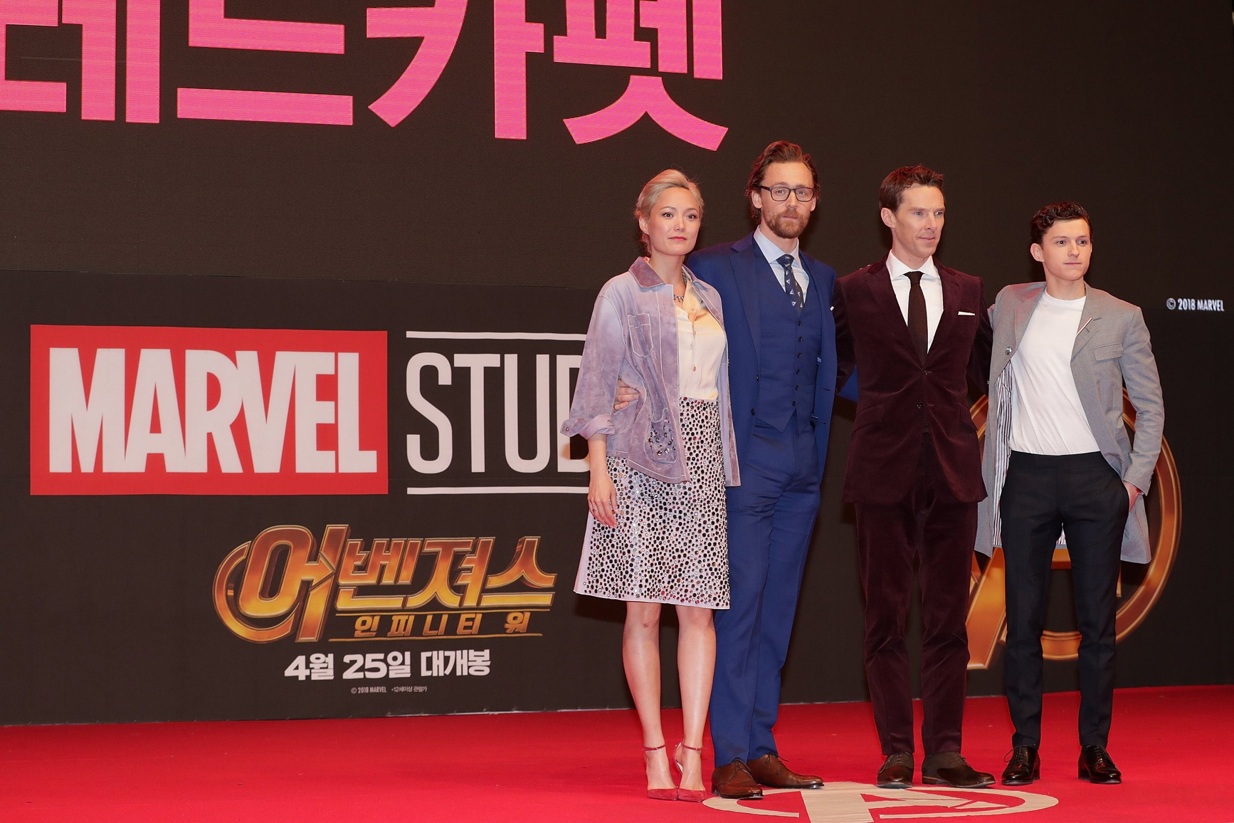 SEOUL, SOUTH KOREA - APRIL 12: (L-R) Pom Klementieff, Tom Hiddleston, Benedict Cumberbatch and Tom Holland attend the Seoul premiere of 'Avengers Infinity War' on April 12, 2018 in Seoul, South Korea. (Photo by Han Myung-Gu/WireImage)