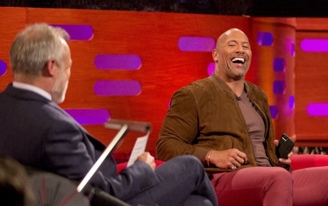 (left to right) Host Graham Norton, Dwayne Johnson, Naomie Harris and Martin Freeman during filming for the Graham Norton Show at BBC Studioworks in London, to be aired on BBC One on Friday. PRESS ASSOCIATION Photo. Picture date: Thursday April 12, 2018. See PA story SHOWBIZ Norton. Photo credit should read: PA Images on behalf of So TV/PA Wire