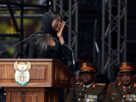 Naomi Campbell breaks down in tears at Winnie Mandela's funeral as mourners gather to pay their respects