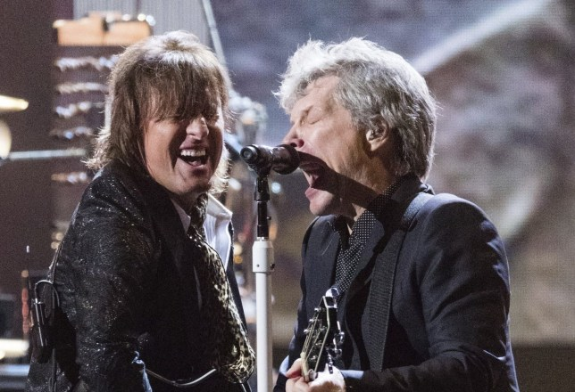 Richie Sambora, left, and Jon Bon Jovi are seen at the 2018 Rock and Roll Hall of Fame Induction Ceremony at Cleveland Public Auditorium Saturday, April 14, 2018, in Cleveland, Ohio. (Photo by Michael Zorn/Invision/AP)