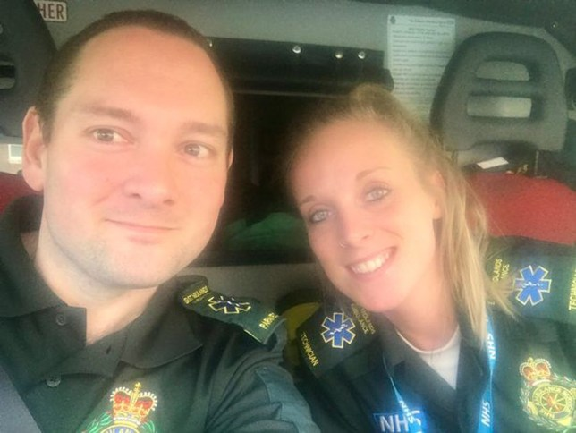 """An ambulance crew were criticised for stopping to get food to fuel them through a shift. Loughborough-based paramedic Tim Hargreaves and ambulance technician Kiri Howard went for some much-needed sustenance during a 10-hour stint, at around 8pm yesterday. As they picked up some chips, someone in the shop said: """"I had to wait for an ambulance, nice you have time to eat."""""""