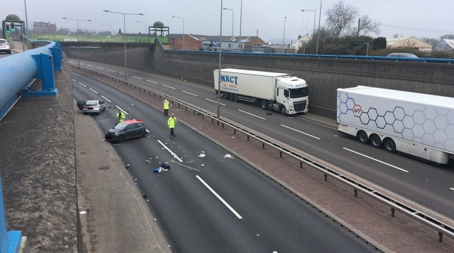 A man has died and a woman has been left critically injured after a collision following a police pursuit on the A50. The man's vehicle collided with another vehicle on the eastbound side of the dual carriageway, between Baths Road and Trentham Road near Longton, Staffordshire, at around 6.15am. A woman, who was travelling with the man who died, was taken to hospital where she is in a critical condition. The occupants of the second vehicle were also taken to hospital, but had suffered only minor injuries.