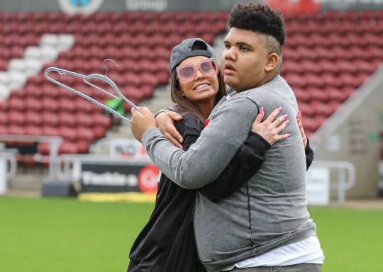 Katie Price and Alan Carr manage opposing teams in the Sellebrity Soccer match at Sixfields Stadium in Northampton Featuring: Katie Price, Harvey Price Where: Northampton, United Kingdom When: 15 Apr 2018 Credit: John Rainford/WENN.com