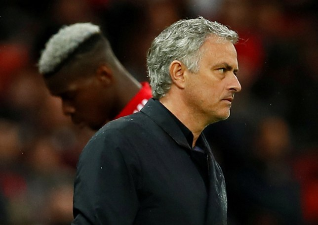 """Soccer Football - Premier League - Manchester United vs West Bromwich Albion - Old Trafford, Manchester, Britain - April 15, 2018 Manchester United manager Jose Mourinho as Paul Pogba is substituted Action Images via Reuters/Jason Cairnduff EDITORIAL USE ONLY. No use with unauthorized audio, video, data, fixture lists, club/league logos or """"live"""" services. Online in-match use limited to 75 images, no video emulation. No use in betting, games or single club/league/player publications. Please contact your account representative for further details. TPX IMAGES OF THE DAY"""