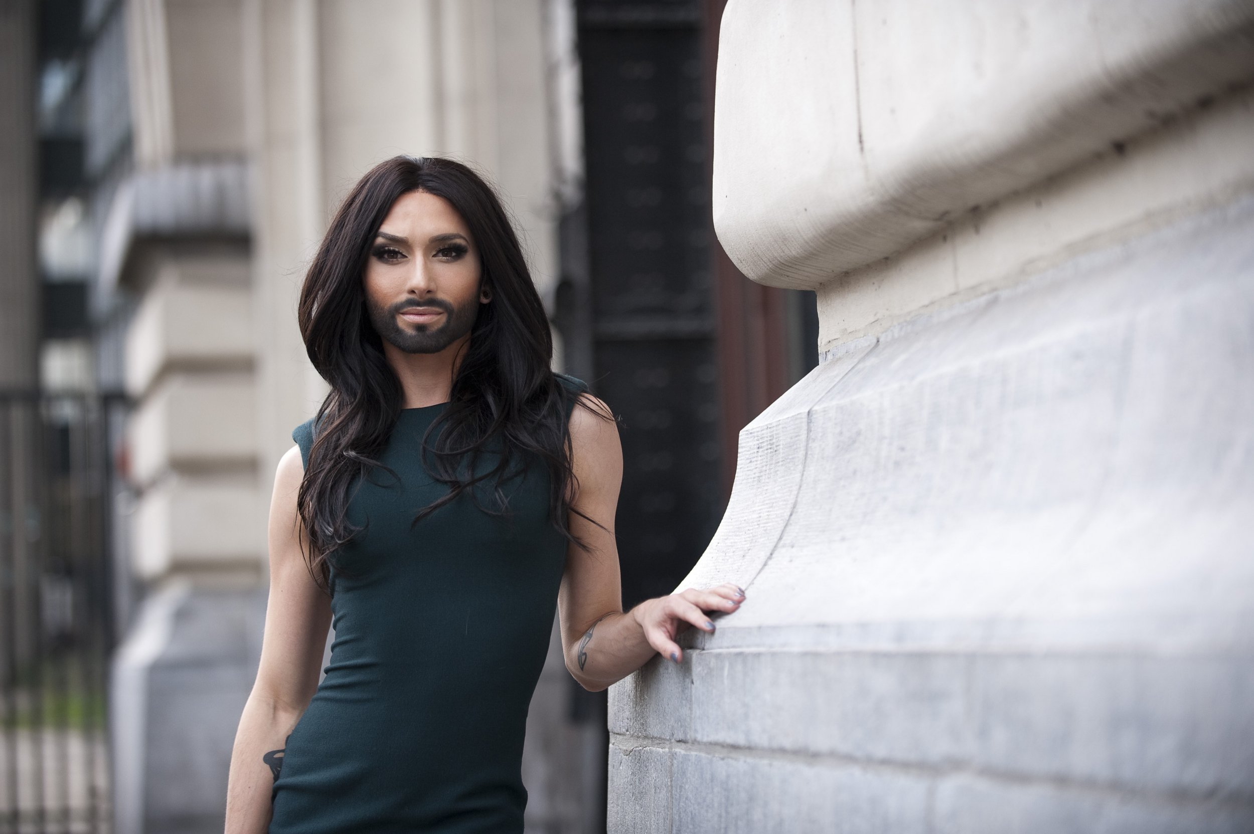 GHENT, BELGIUM - JANUARY 18: (FRANCE OUT,BELGIUM OUT,NETHERLANDS OUT) Singer Conchita Wurst aka Tom Neuwirth poses in the center of Ghent, on January 18, 2014 in Ghent, Belgium. He will be representing Austria in the Eurovision Song Contest 2014 in Copenhagen on May 10,2014. (Photo by Florian Van Eenoo/Photonews via Getty Images)