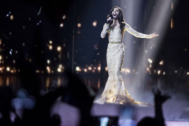 Conchita Wurst representing Austria performs 'Rise Like a Phoenix' during the second semi-final of the Eurovision Song Contest 2014 in Copenhagen, Denmark, on May 8, 2014. The grand final will take place on May 10, 2104. AFP PHOTO / SCANPIX DENMARK / NIKOLAI LINARES +++ DENMARK OUT +++ (Photo credit should read Nikolai Linares/AFP/Getty Images)