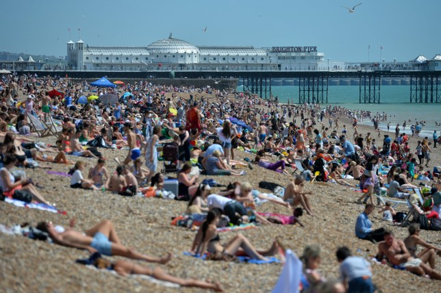 People relax in on the beach in Brighton, on the south coast during hot weather on August 1, 2013. Temperatures in the south of England were set to rise to over 30C (86F) again as the heatwave briefly returns to the UK. AFP PHOTO / BEN STANSALL (Photo credit should read BEN STANSALL/AFP/Getty Images)