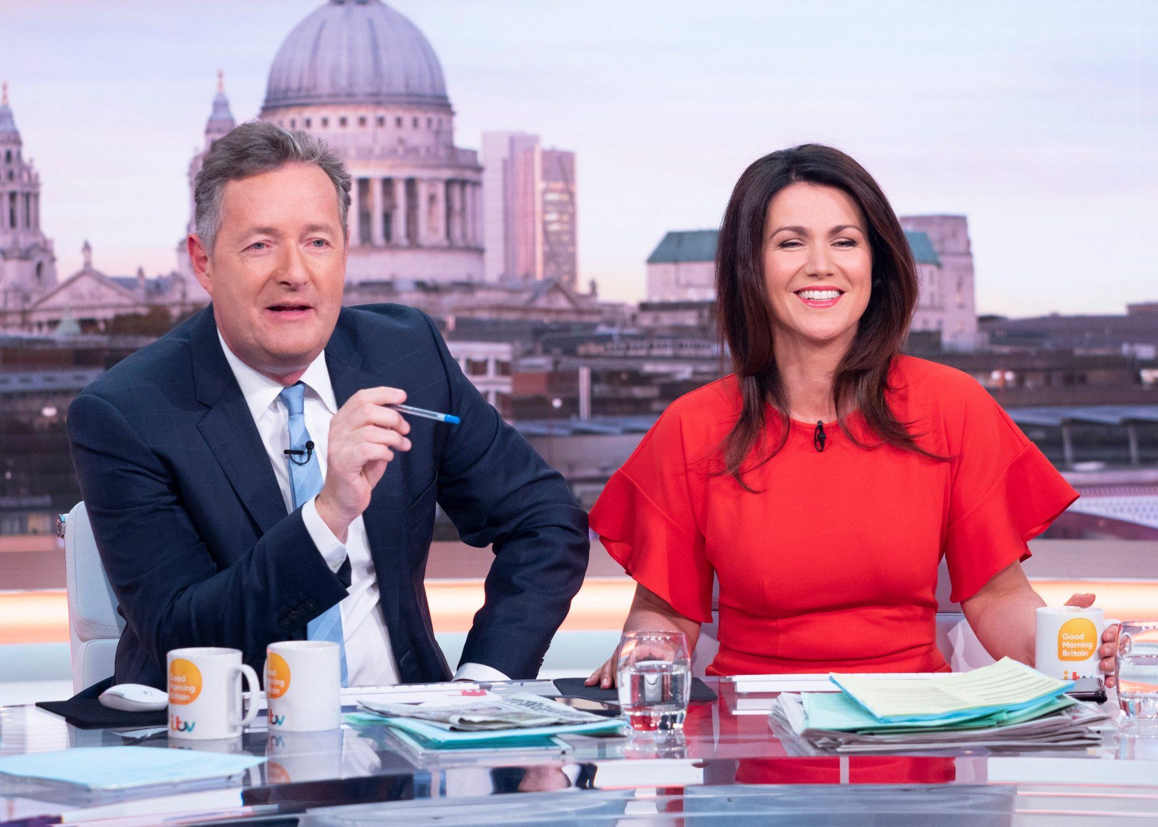 EDITORIAL USE ONLY. NO MERCHANDISING Mandatory Credit: Photo by Ken McKay/ITV/REX/Shutterstock (9632677f) Piers Morgan and Susanna Reid 'Good Morning Britain' TV show, London, UK - 16 Apr 2018