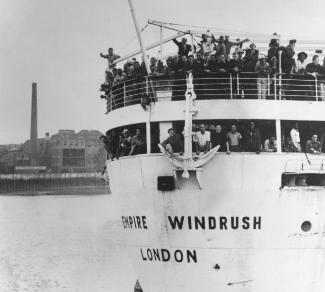 22nd June 1948: The ex-troopship 'Empire Windrush' arriving at Tilbury Docks from Jamaica, with 482 Jamaicans on board, emigrating to Britain. (Photo by Keystone/Getty Images)