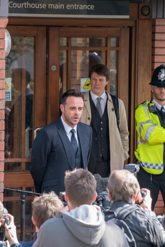Ant appeared at Wimbledon Magistrates Court today to plead guilty to the charges put before him. Seen here exiting the court