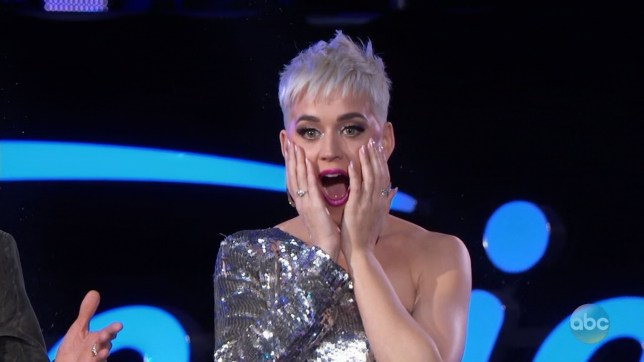 Katy Perry suffers unfortunate wardrobe malfunction on American Idol: 'Tape my butt!' (Picture: ABC)