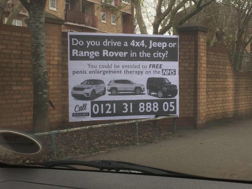 'Free penis enlargement for 4x4 drivers in Birmingham'