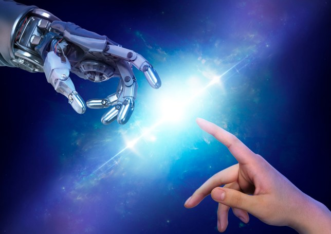 robot, technology, future, futuristic, business, high tech, cyber, cyber technology, data, artificial intelligence, 3D, metal, blue background, studio, science, sci fi, hand, gesture, robotic, tech, illustration, innovation, shiny, chrome, silver, wires, concept, creative