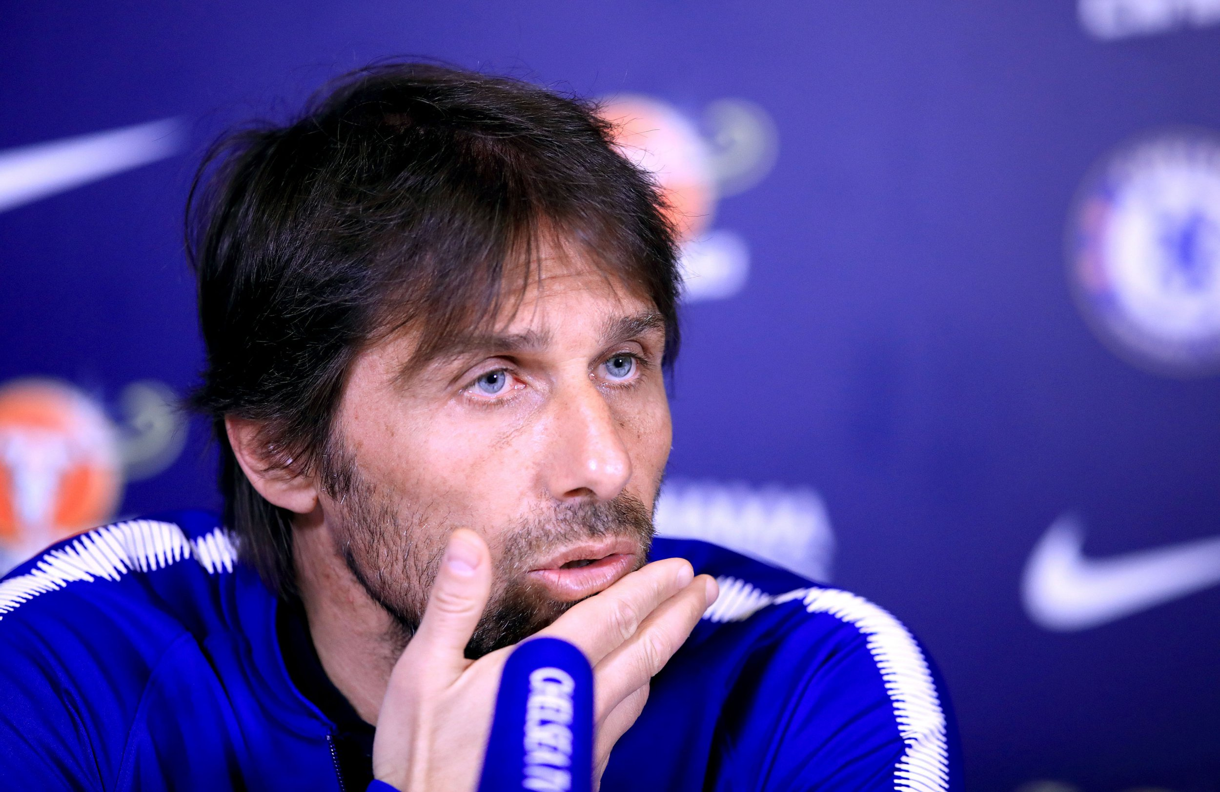 "Chelsea manager Antonio Conte during a press conference at Cobham Training Ground. PRESS ASSOCIATION Photo. Picture date: Wednesday April 18, 2018. See PA story SOCCER Chelsea. Photo credit should read: Adam Davy/PA Wire. RESTRICTIONS: EDITORIAL USE ONLY No use with unauthorised audio, video, data, fixture lists, club/league logos or ""live"" services. Online in-match use limited to 75 images, no video emulation. No use in betting, games or single club/league/player publications."